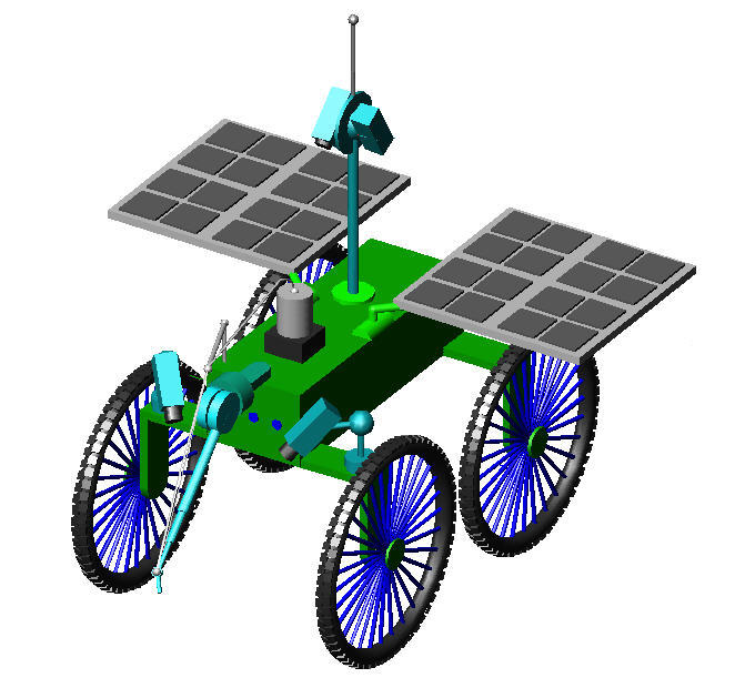 farm robot with solar panels and bike wheels