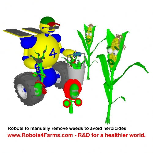 Farm robot removing weeds