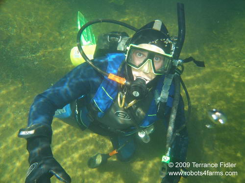 Scuba diver diving in the Chemainus River on Vancouver Island near Duncan British Columbia