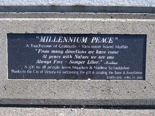 Plaque on Sculpture at Clover Point in Victoria